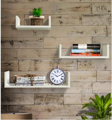 Shelving Solution Set of 3 Floating U Shelves (White)