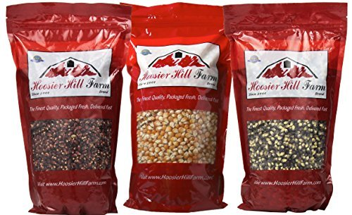 Hoosier Hill Popcorn 3 Varieties 1.5 Pounds each (Red / Mushroom / Blue) (Persian Blue Popcorn compare prices)