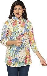 Yashasvi Women's Cotton Top (Purple and Yellow, M)