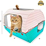 KITTY CAMPER Cardboard Cat Houses with Ebook, Playful Pink