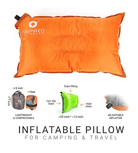 Camping Pillow - Sleep Well & Travel Light | Best for Backpacking, Hiking & Outdoors | Lightweight Camping Equipment, Inflates Large & Stores Small