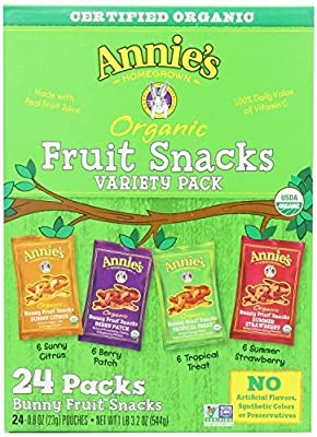 Annies Homegrown Organic Bunny Fruit Snacks Variety Pack 0.8 Oz (24 ct)