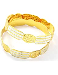 Peach & Glory Gold Plated Bangle With Silver Coating For Women SIZE 2.6 (B359-26)