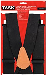Task Tools T77414 Full Elastic Tradesperson\'s Suspenders, Black