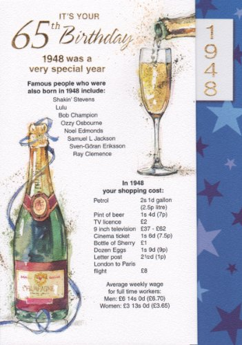 Navy 65th Birthday Card - 1948 Was A Very Special Year - 2013 Year Card