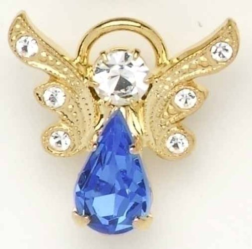 Pack of 8 Gold Plated September Birthstone Angel Pins with Pave Wings