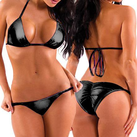 New shiny black vinyl wet look halter neck bikini