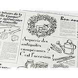フランスの新聞紙風プリント お花やプレゼント,ギフト商品のラッピングに! 仏字・英字 包装紙 10枚 【ノーブランド】