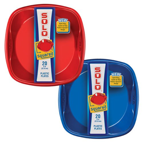 "Solo  9"" x 9"" Solo Squared Plates (Red & Blue), 20-Count Packages (Pack of 12)"