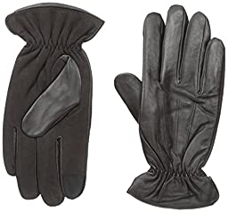 IZOD Men\'s Leather and Suede Touchscreen Gloves with Fleece Lining, Brown, X-Large