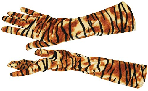 "Star Power Long Purrrfect Tiger Striped Gloves Orange One Size (15"")"