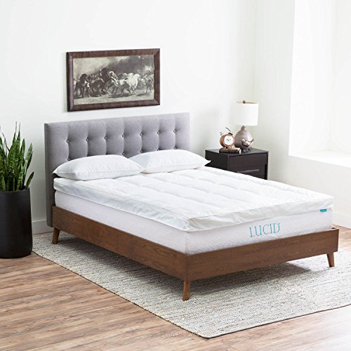 LUCID Hybrid Down Alternative + Gel-Infused Memory Foam Mattress Topper -  King (Rv Pillow Top Mattress compare prices)