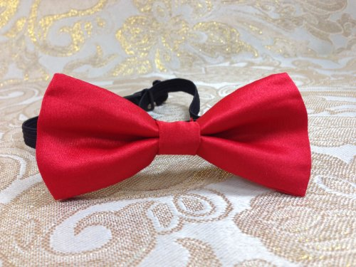 Kid'S Classic Style Check Polyester Wedding Photo Shoot Party Event Bow Tie- Plain Color Design (Red)