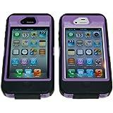 Iphone 4/4s Body Armor Defender Case Black on Purple