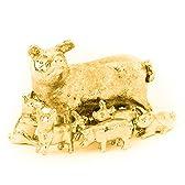 豚の親子 22ct ゴールドプレート イギリス製 アニマル アート フィギュア コレクション