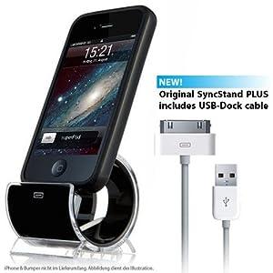 Syncstand Plus - schwarz - Ständer, Dock für Apple iPhone 4S / 4, 3GS, 3G, sowie alle iPod Modelle (inkl. Dock-Kabel)