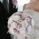 プリザーブドフラワー、ウェディング、結婚式、花嫁、ブーケ、ジューンブライド、パール、プレゼント、お祝い、ギフト、リボン、プリザ、アレンジ、バラ、かすみ草、紫陽花、ガーベラ、ラウンドブーケ、フランスリボン abo-006