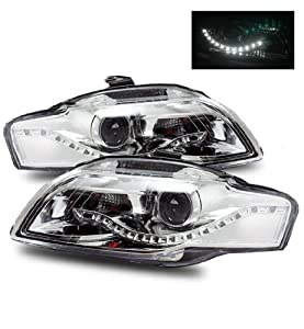 06-08 Audi A4 R8 Style LED Strip Projector Headlights Chrome (Halogen Type Only)