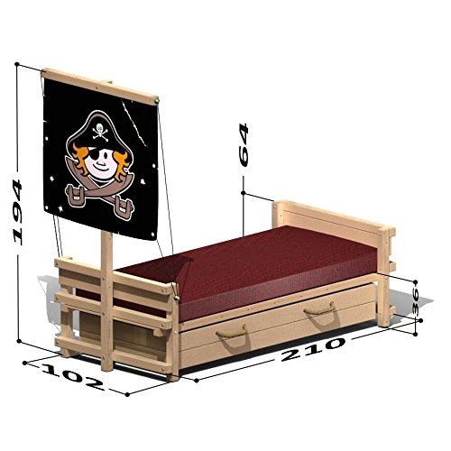 Wickey Lits enfant Lit aventures Lit jeu Captain Black 90x200cm Drapeau Bob l'éponge
