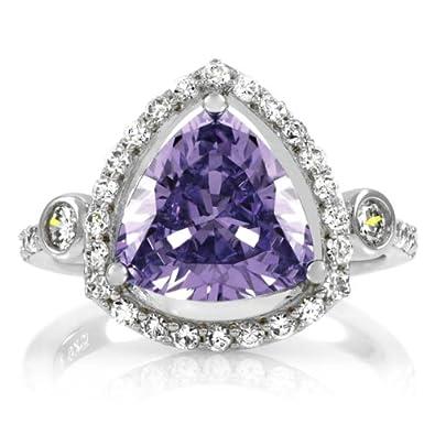 Abilene's 2.5 ct Trillion Cut Light Purple CZ Engagement Ring
