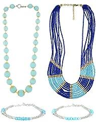 Beadworks Blue Glass Jewellery Set For Girls (JewelryCombo-5)