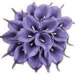 Duovlo 20pcs Calla Lily Bridal Wedding Bouquet Lataex Real Touch Artificial Flower Home Party Decor (Purple)