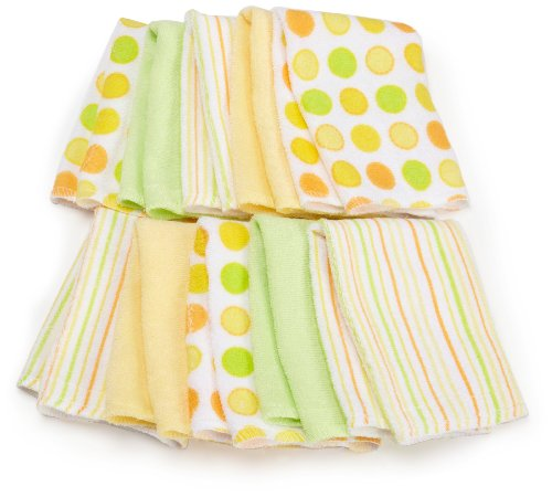 Spasilk 10 Pack Soft Terry Washcloth, Yellow