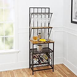 Home Indoor Furniture Faux Marble Shelf Bakers Rack Wine Bottle Kitchen Stand Metal Wood With Wine Bottle Storage antique brass built-in glass holders kitchen dining room home bar 37Lx27.5Wx5.38HIn