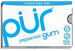 PUR gum Peppermint Gum-Aspartame Free, 9-Count (Pack of 12)