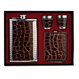 7Trees Stainless Steel/Faux Leather 9 Oz/266 ml Hip Flask + 2 Shot Glasses + Cigarette Case