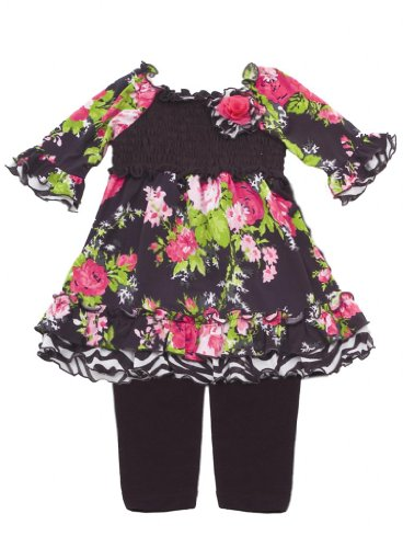 Size-12M, Fuchsia, Fuchsia/Black Floral Print Ity Smocked Legging Set, Rare Editions Infant, Rre-Pants-Clothing-Sets front-1086119