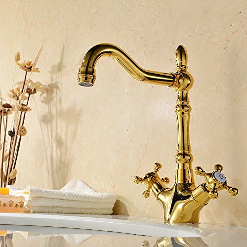 VAPSINT® Traditional Farmhouse Victorian Chrome Monobloc Swivel Kitchen Sink Mixer Taps (Gold)