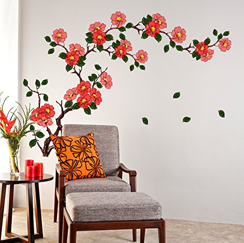 Decals Design 'Floral Branch Antique Flowers' Wall Sticker (PVC Vinyl, 50 cm x 70 cm)