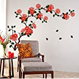 StickersKart Wall Stickers Floral Branch Sofa Living Room Background Antique Flowers Vinyl Art (Wall Covering...