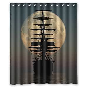 Pirate ship silhouette shower curtain custom popular bathroom shower