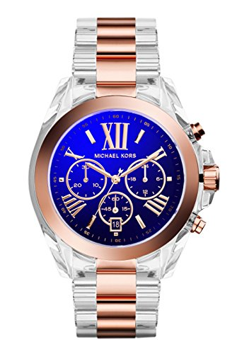 Michael Kors Women'S Chronograph Bradshaw Rose Gold-Tone Accent Clear Bracelet Watch 43Mm Mk5950