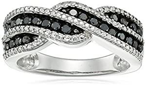 Sterling Silver Black Diamond Ring (1/2cttw), Size 7