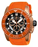 Invicta Pro Diver Swiss Made Men's Quartz Watch with Black Dial Chronograph Display and Orange PU Strap in Rose-Gold Plated Stainless Steel Case 14676