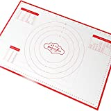 Silicone Pastry Mat With Measurements | Large Sheet: 23 x 15 Inches | FDA and LFGB Approved | Big Baking Mat | Full Sticks To Countertop For Rolling Dough | Conversion Information Included | Best Pastry Rolling Mat | By BakeitFun | Red