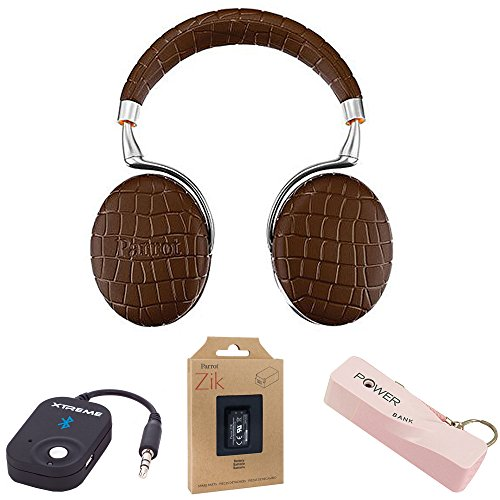 Parrot Zik 3 Wireless Bluetooth Noise Cancelling Headphone with Battery, Microphone, Port Keychain, Power Bank and luetooth wireless Music Receiver - Brown Croc