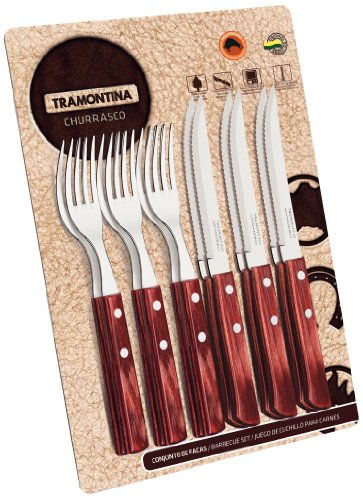 Tramontina 12-Pieces Barbecue Set 6 Knives 6 Forks