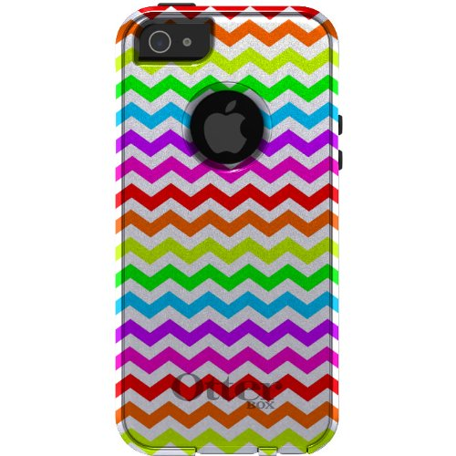 Special Sale CUSTOM OtterBox Commuter Series Case for iPhone 5 5S - Chevron Stripes Zig Zag (White & Rainbow)