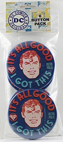 """Button set DC Comics Superman I Got This Button (6-Piece), 3"""""""