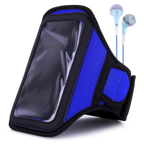 Vangoddy Armband - Navy Blue Neoprene Sweat-Proof W/ Key & Id Card Pouch For Lg Volt Lte Android Phone + Blue Handsfree Microphone Headphones