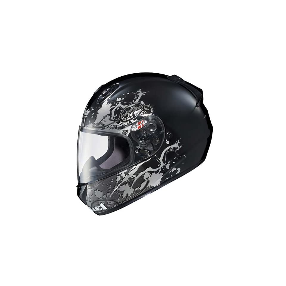 Advanced MC 5 Stain Black Silver Full Face Motorcycle Helmet   Size