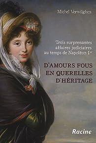 D'amours fous en querelles d'h�ritage : Trois surprenantes affaires judiciares au temps de Napol�on 1er par Michel Verwilghen