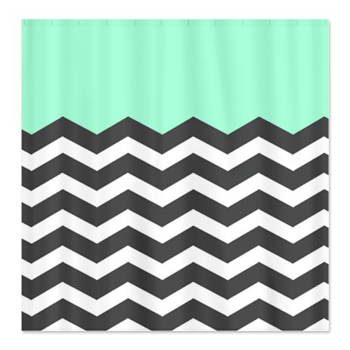 "CafePress Mint Black White Chevron Decorative Fabric Shower Curtain (69""x70"")"