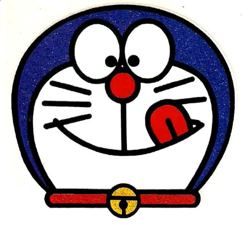 Doraemon The Robot Cat Tongue Out Licking Lips Iron On Transfer 3X2.75 Inch front-49024