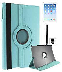 DMG Premium Full 360 Rotating Smart Flip Cover Book Case for Apple iPad Air with Matte Screen, Stylus and DMG Wristband (Blue)