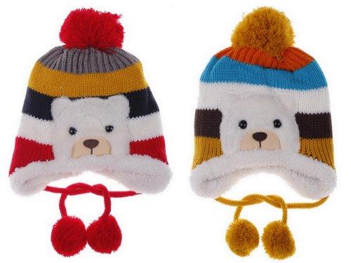 (ポラリス) Polaris 新品1-5歳赤ちゃんベビーウールカシミヤ耳あて ニット帽子キャップハットキッズ可愛いクマデザイン冬保温防寒能力一流お得2色セット(色選べます) (1赤色 黄色)